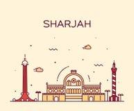 Sharjah skyline vector illustration linear style Stock Photography