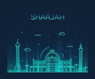 Sharjah skyline vector illustration linear style Royalty Free Stock Image