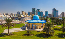 Sharjah - third largest and most populous city in UAE. SHARJAH, UAE - OCTOBER 28: Sharjah - third largest and most populous city in United Arab Emirates, on Royalty Free Stock Images