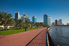Sharjah, UAE. City of Sharjah, United Arab Emirates. View to the center of the town from Khalid Lake Road Royalty Free Stock Images