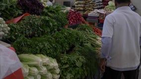 Sharjah, UAE - 13 de janeiro de 2018 O vendedor do homem irriga com verdes frescos da água no mercado Cenoura do aneto da salsa vídeos de arquivo