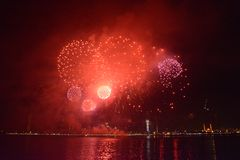 Happy new year 2019. Sharjah uae firework for new year 2019 royalty free stock photos