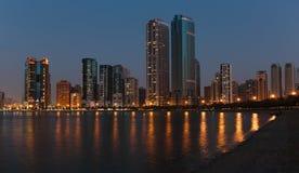Night view of Sharjah UAE. SHARJAH, UAE - NOVEMBER 01: Night view of Sharjah, on November 01, 2013. Sharjah is located along northern coast of Persian Gulf on royalty free stock images