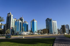 Sharjah UAE. View of modern buildings near Khalid Lake Trail in Sharjah United Arab Emirates Royalty Free Stock Photography