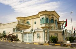 Sharjah, United Arab Emirates, Mansion. The Emirate of Sharjah is located 20 kilometers from Dubai: in 1998, UNESCO recognized it as the cultural capital of the stock photos