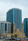 Sharjah, Zjednoczone Emiraty Arabskie: Al Ekhlas meczet, Al Khan zdjęcie stock