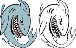 Shark. Cartoon image of a shark - both color and black / white versions Royalty Free Stock Image