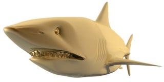 Shark. 3d golden shark head view isolated Stock Photos