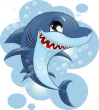 Shark. Against the sea and bubbles royalty free illustration
