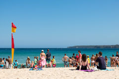 Shark Alert. Swimmers called out to shore, due to shark alert on Mollymook Beach, NSW South Coast of Australia Stock Photography