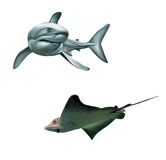 Shark And Fish Stingray. Isolated Realistic Illust Stock Photos