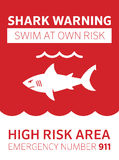 Shark area warning Royalty Free Stock Image