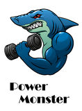 Shark athlete with dumbbells Stock Photo