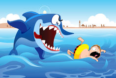Shark Attack. A boy being pursued by a really big shark Royalty Free Stock Photography