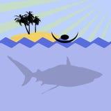 Shark attack. Illustration of swiming men in sea and shark Stock Photo