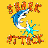 Shark attack cartoon vector poster Royalty Free Stock Photos