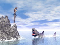 Shark attack - 3D render Royalty Free Stock Image