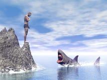 Shark attack - 3D render Royalty Free Stock Image