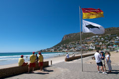 Shark attack Fish Hoek. Shark warning flag after fatal attack on 12 January at Fish Hoek beach near Cape Town. bathing banned from all beaches in the area royalty free stock images