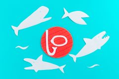 Shark attack. Life insurance concept. Paper cut royalty free stock photography