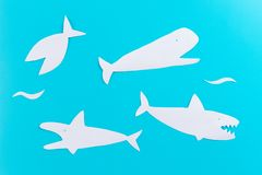 Shark attack. Life insurance concept. Paper cut royalty free stock photos
