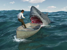 Shark attacks man in a boat Royalty Free Stock Image