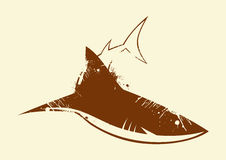 Shark Background. An illustrated background with a symbol of a shark in brown color Stock Photo