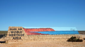 Shark Bay sign post. In Western Australia royalty free stock photos
