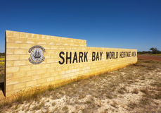 Shark Bay World Heritage Area, WA. The sign at the entrance to the Shark Bay World Heritage Area in Western Australia. This area includes Monkey Mia royalty free stock photo