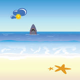 Shark and beach  illustration Stock Photo
