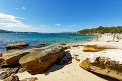Shark Beach, Nielsen Park, Vaucluse, Sydney, Australia. Yellow sand Sydney Harbour Shark Beach, at Nielsen Park, Vaucluse, Sydney, NSW, Australia. Shark Beach is stock photography