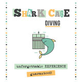 Shark cage diving banner Royalty Free Stock Images