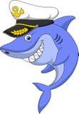 Shark captain cartoon Royalty Free Stock Photo