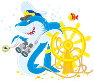 Shark captain. Great white shark with a captain cap, binocular, compass and steering wheel Stock Photo