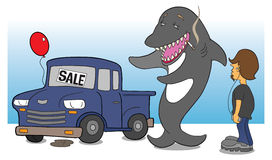 Shark car salesman. Shady shark car salesman attempting to sell a pickup in questionable condition to a teenager vector illustration