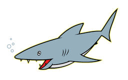 Shark - cartoon character. Vector illustration of blue cartoon shark Vector Illustration