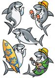 Shark cartoon character set Stock Photo