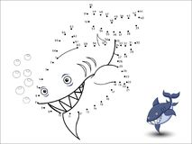 Shark Cartoon Connect the dots and color. Vector Stock Image