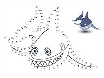 Shark Cartoon Connect the dots and color. Vector stock illustration