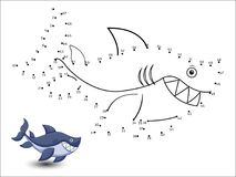 Shark Cartoon Connect the dots and color. Vector Stock Photo