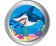 Shark cartoon with porthole frame Stock Photography