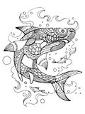 Shark coloring book for adults vector Royalty Free Stock Images