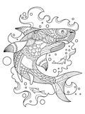 Shark coloring book for adults vector Stock Photography