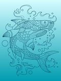 Shark coloring book for adults vector Royalty Free Stock Photos