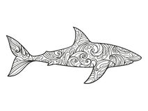 Shark coloring book for adults vector Stock Images