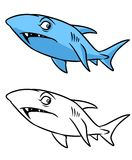 Shark coloring page cartoon illustration Royalty Free Stock Images