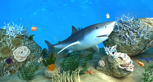 Shark among coral reefs. Rendered 3d scene of shark and other sea inhabitants among coral reefs Royalty Free Stock Image