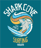 Shark cove surfing team. Vector print for children wear grunge effect in separate layer royalty free illustration