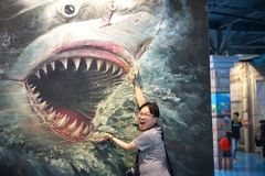 shark 3d painting in gallery at Art In Paradise pattaya.Interactive art museum Thailand 3June2018 stock photo