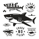 Shark dangerous emblems Stock Image